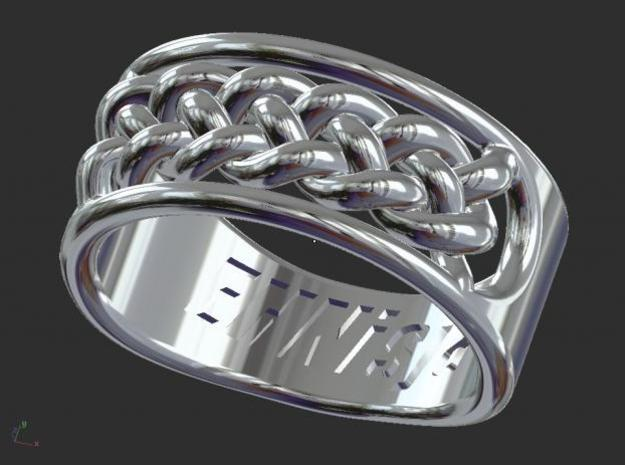 EHNisja 07, Ring Braided 3d printed Sterling Silver Render