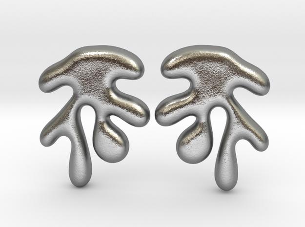 Leaf08 Earrings in Natural Silver