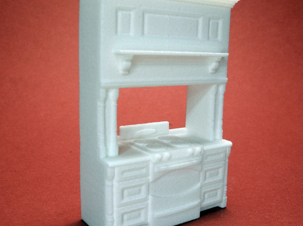 1:48 Farmhouse Stove Cabinet in White Natural Versatile Plastic