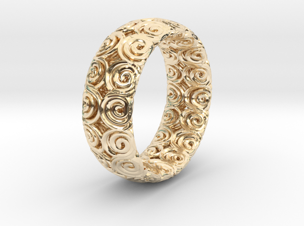 Java Ring Double Spiral  in 14k Gold Plated Brass
