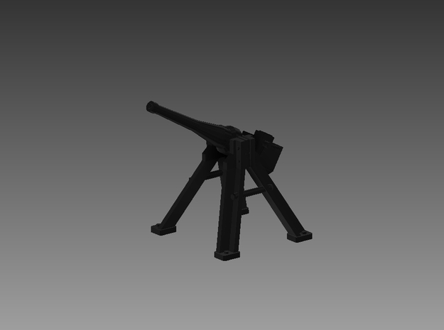 3 Pounder Saluting Gun 30° 1/100 in Smooth Fine Detail Plastic