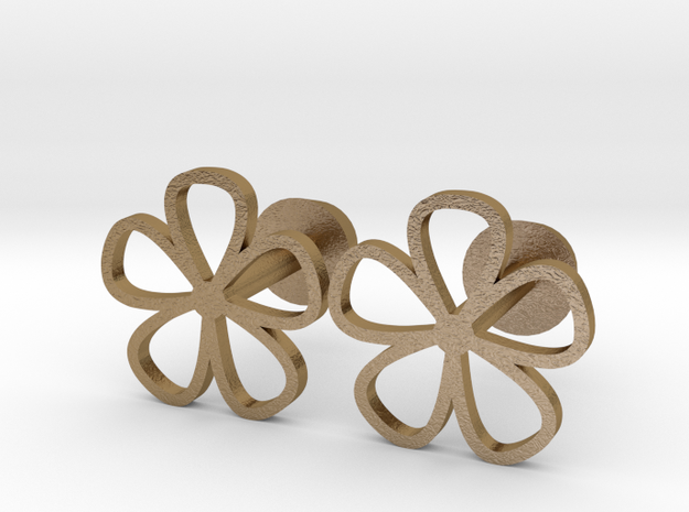 Floral cufflinks in Polished Gold Steel