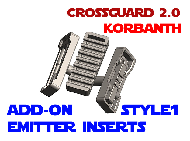 Korbanth Crossguard 2.0 - Emitter Inserts Style1 in White Natural Versatile Plastic