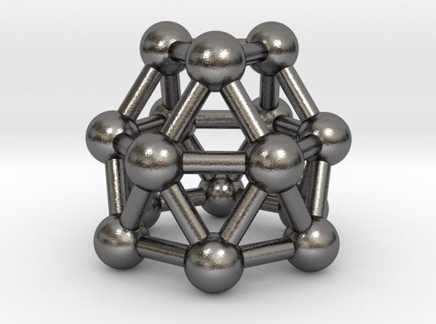 0781 J22 Gyroelongated Triangular Cupola #3 in Polished Nickel Steel