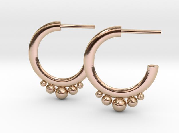 Hoop Earrings Degrading Spheres in 14k Rose Gold Plated Brass
