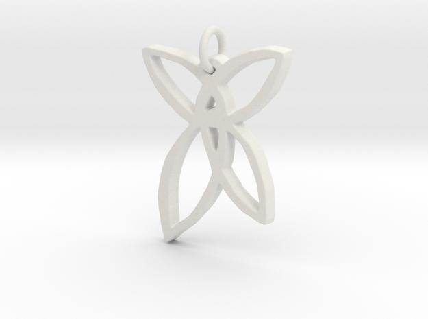 Fairy Wings Pendant in White Natural Versatile Plastic