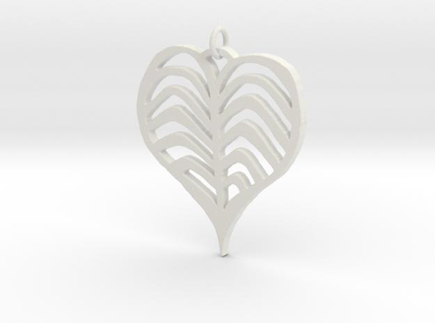 Rib cage Heart Pendant in White Natural Versatile Plastic