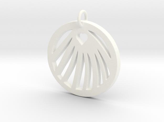 Love Clam Pendant in White Processed Versatile Plastic
