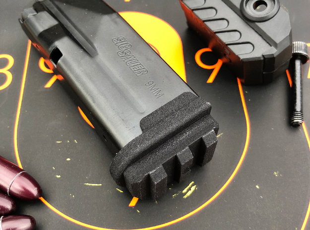 SIG P365 - Flush Base Pad w/Rail in Black Natural Versatile Plastic