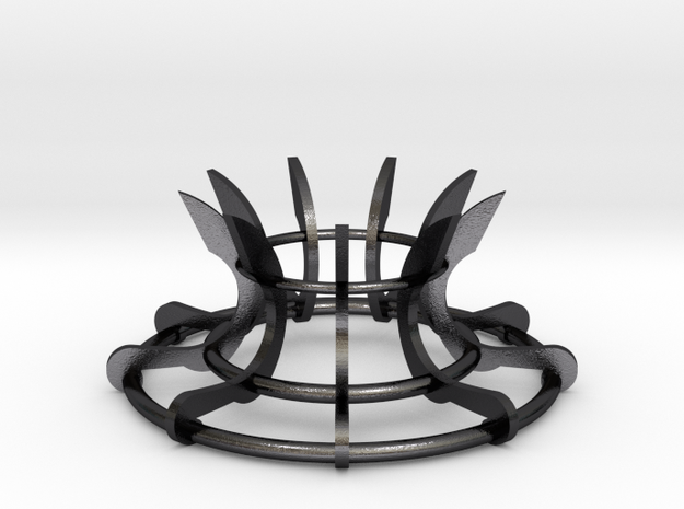 Scimitar Egg Stand Version 2 in Polished and Bronzed Black Steel: Medium