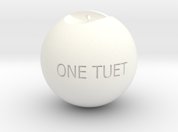 One Round Tuet Ball Key Fob in White Processed Versatile Plastic
