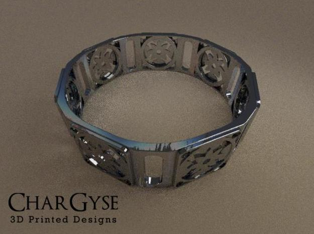Bangle - Eight Petal Floating in Smooth Fine Detail Plastic