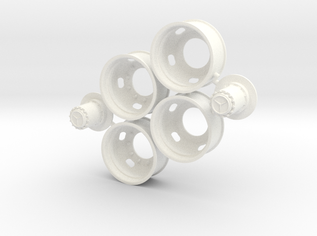 5-Hole Rear Rims with Mercedes Hub in White Processed Versatile Plastic