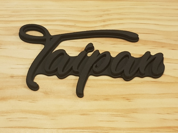 """TAIPAN"" rear badge in White Natural Versatile Plastic"