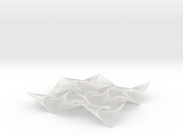 Square Spiral Line Illusion ​V3 Tessellated Lines in White Natural Versatile Plastic