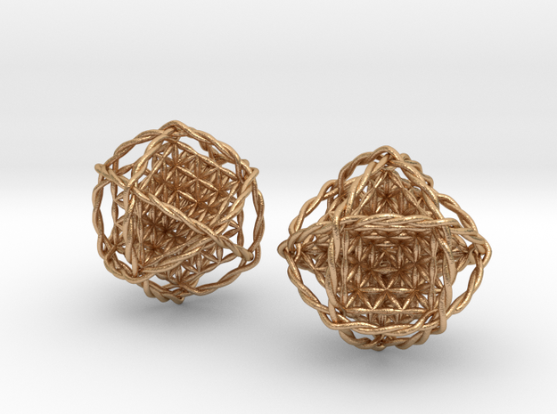 """Twisted Ball of Life Pair 1.8""""  in Natural Bronze"""