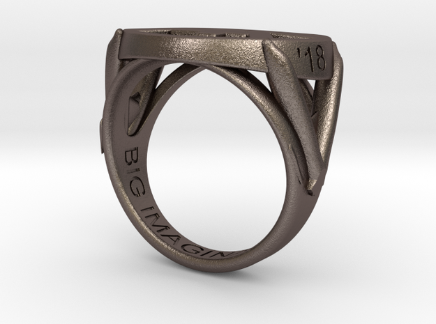 747 Ring in Polished Bronzed-Silver Steel: 8.5 / 58