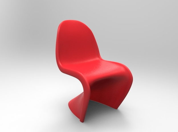 Panton Chair 10.7cm (4.2 inches) Height in Red Processed Versatile Plastic