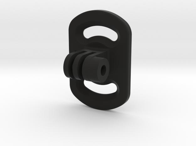 Kitesurf Board Fin Plate Mount for GoPro in Black Natural Versatile Plastic
