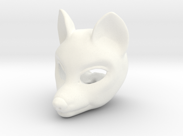 Wolfie head for Rubenesque body [FRONT] in White Processed Versatile Plastic