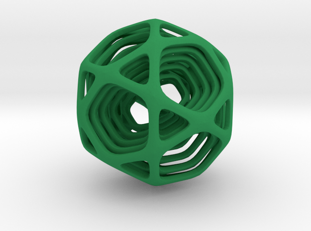 Icosidodecahedron Nested  in Green Processed Versatile Plastic