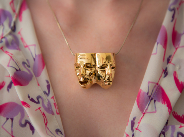 Theater Masks in 14k Gold Plated Brass