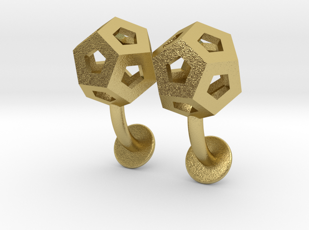 Dodecahedron Cufflinks in Natural Brass