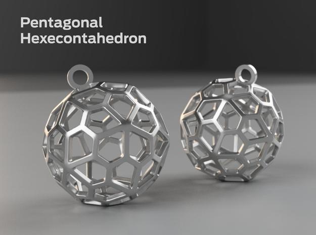 Pentagonal Hexecontahedron Earrings in White Processed Versatile Plastic