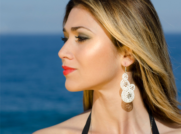 Star Coral Earring in White Processed Versatile Plastic