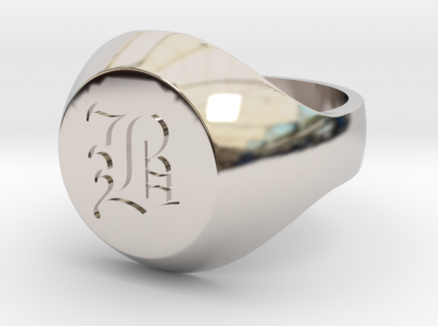 "Initial Ring ""B"" in Rhodium Plated Brass"
