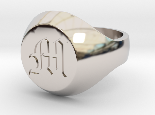 "Initial Ring ""M"" in Rhodium Plated Brass"