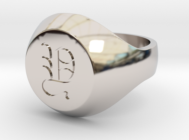 """Initial Ring """"Y"""" in Rhodium Plated Brass"""