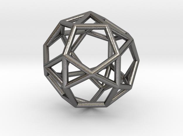 0815 J34 Pentagonal Orthobirotunda (a=1cm) #1 in Polished Nickel Steel
