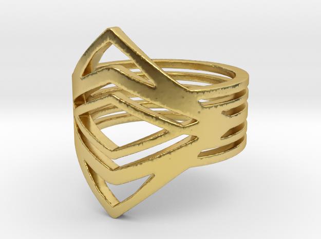 Diamond eyes Ring in Polished Brass: 6 / 51.5