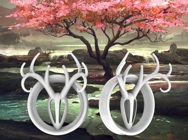 1 & 7/8 inch Antler Tunnels in White Strong & Flexible Polished