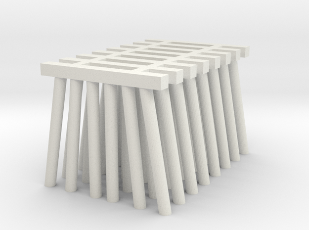 Short Piers for Trestle N (1:160) Six Piles 8x in White Natural Versatile Plastic