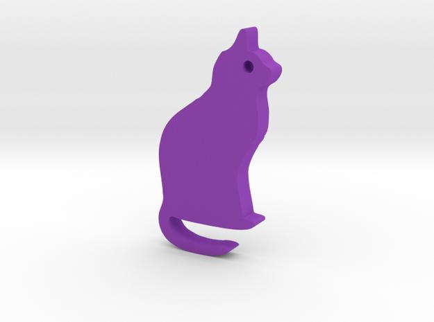Cat II Silhouette Keychain in Purple Processed Versatile Plastic