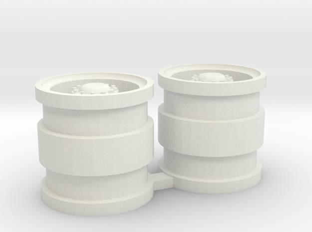 Dubbellucht achtervelg met naafreductie in White Natural Versatile Plastic