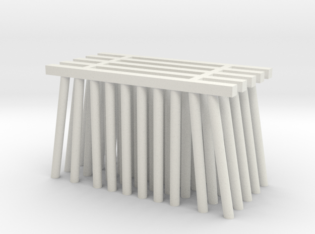 Double Track Trestle N (1:160) 5 Pack No Cross in White Natural Versatile Plastic