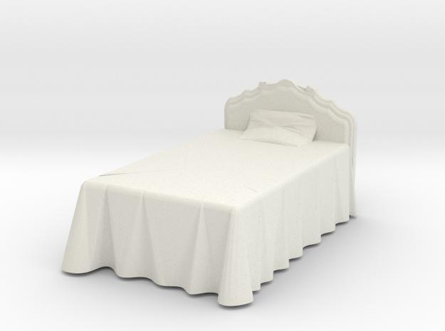 Miniature Victorian Bed 1:48 in White Natural Versatile Plastic: 1:48 - O