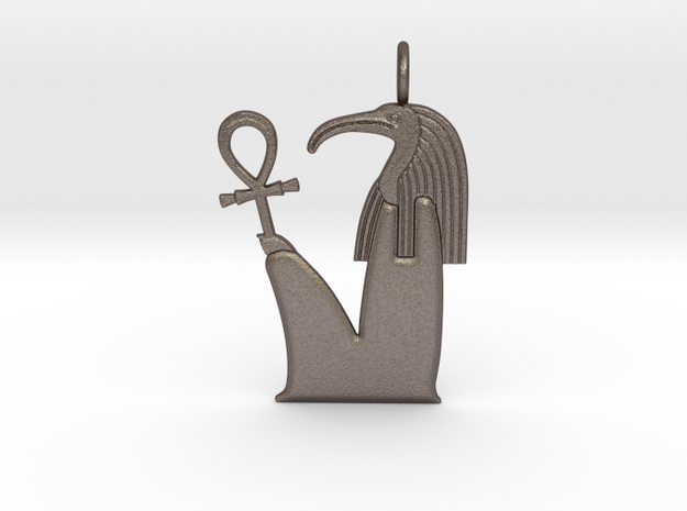 Djehuty / Thoth amulet in Polished Bronzed-Silver Steel