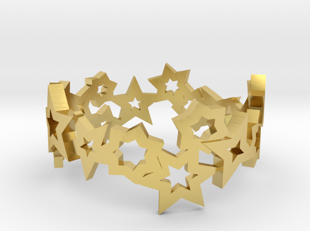 Stars Ring in Polished Brass: 7 / 54