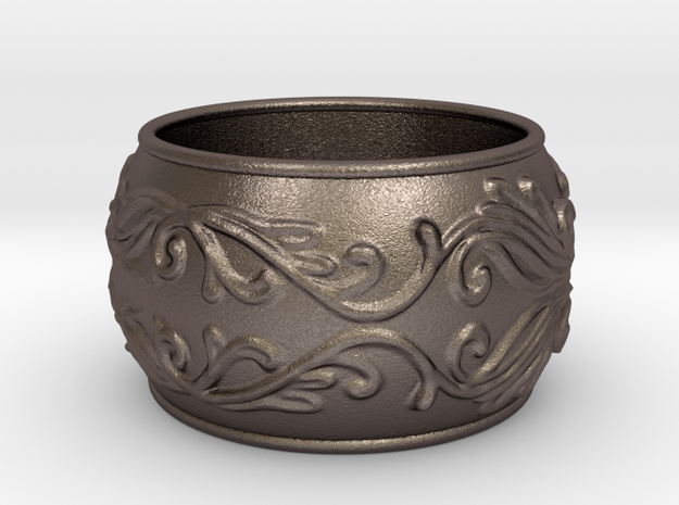 Lady Warrior bracelet in Polished Bronzed-Silver Steel: Medium