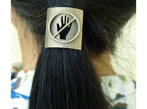 Don't Touch My Hair : No Touching! Hair Tie in Matte Bronzed-Silver Steel: Small