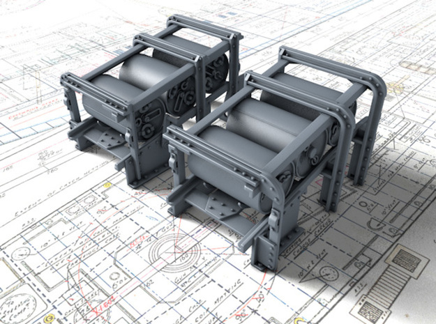 1/120 Royal Navy Small Depth Charge Racks x2 in Smoothest Fine Detail Plastic