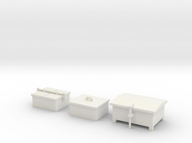 HO Railroad Signal Boxes - Small in White Natural Versatile Plastic