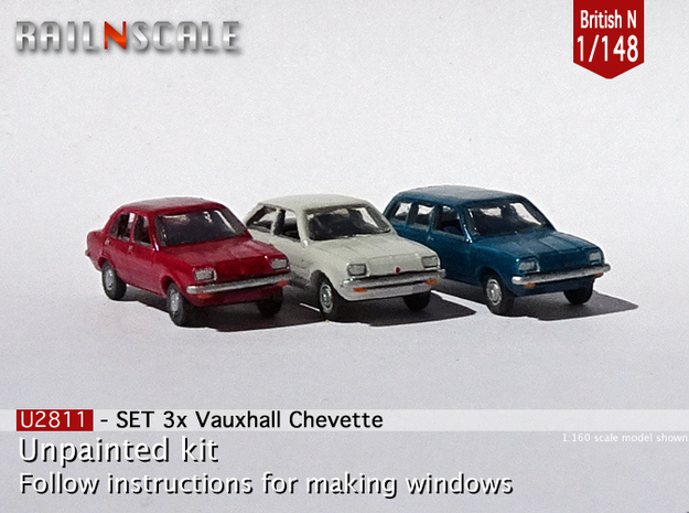 SET 3x Vauxhall Chevette (British N 1:148) in Smoothest Fine Detail Plastic
