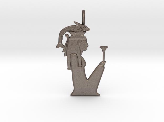 Hatmehyt amulet in Polished Bronzed-Silver Steel