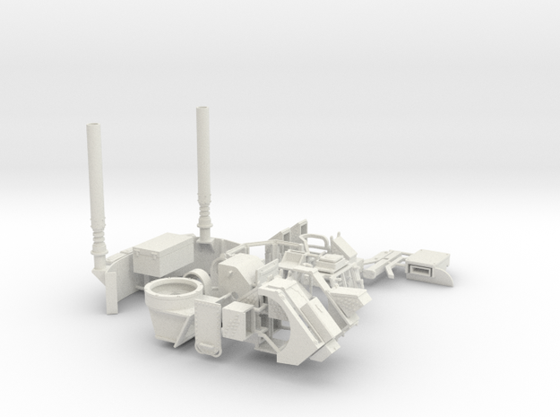 1:18 BUSK TURRET & DRIVER'S LID + EXHAUST in White Natural Versatile Plastic
