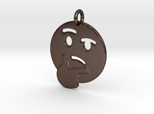 Thinker Emoji Pendant - Metal in Polished Bronze Steel